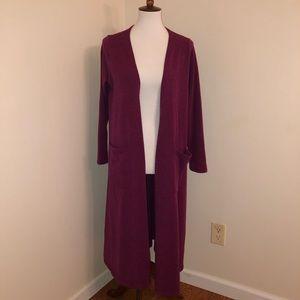 Lularoe Burgundy Sarah Cardigan Duster Sweater M